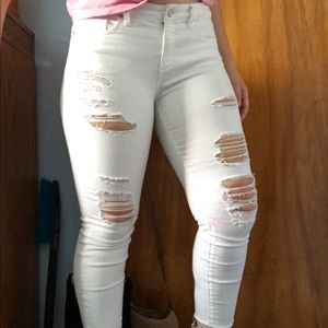 a.n.a white ripped skinny jeans with cropped ankle